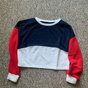 Sweaters - Color Block Red White Blue Sweater Crop Top